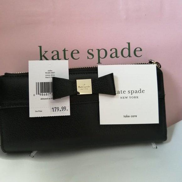 New Kate Spade Eva Wallet on Chain Black/G…